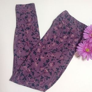 LuLaRoe Purple Floral TC Leggings